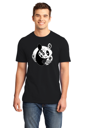 Panda Bear Logo T-shirt Standard Black Stock Model Front 1 Front