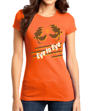 Eye to Eye Goofy Movie Inspired Tee Girly Orange Stock Model Front 1 Thumb