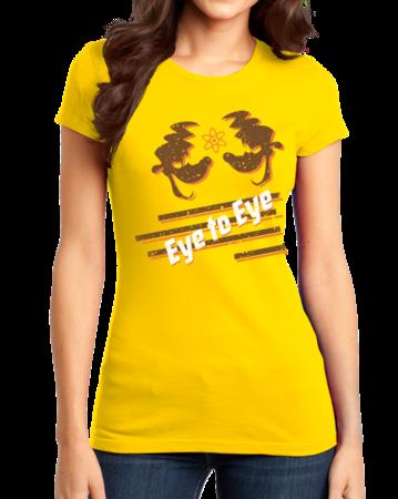Eye to Eye Goofy Movie Inspired Tee Girly Yellow Stock Model Front 1 Thumb Front