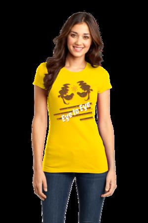 Eye to Eye Goofy Movie Inspired Tee Girly Yellow Stock Model Front 1 Front