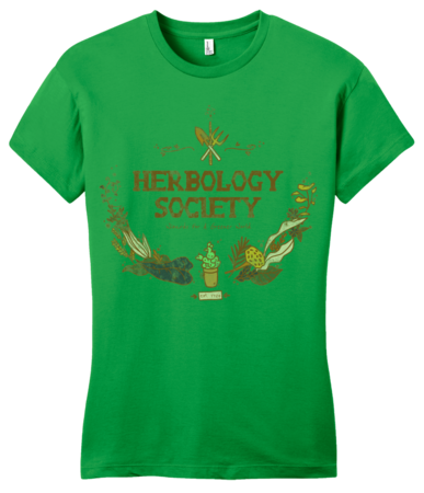 Herbology Society Harry Potter Inspired Fan Tee Girly Green Blank with Depth Front