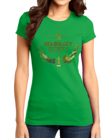 Herbology Society Harry Potter Inspired Fan Tee Girly Green Stock Model Front 1 Thumb Front