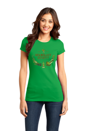 Herbology Society Harry Potter Inspired Fan Tee Girly Green Stock Model Front 1 Front