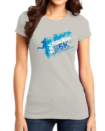 TBA Fun Run Arrested Development Fan T-shirt Girly Light Grey Stock Model Front 1 Thumb Front