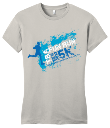 TBA Fun Run Arrested Development Fan T-shirt Girly Light Grey Blank with Depth Front