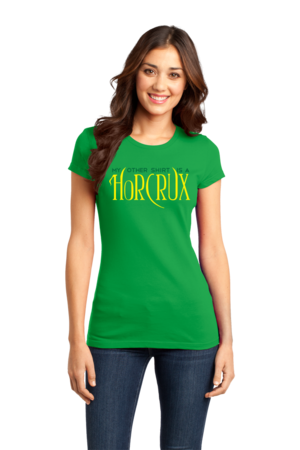 My Other Shirt is a Horcrux Girly Green Stock Model Front 1 Front