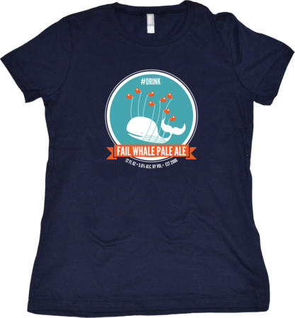 Fail Whale Pale Ale Girly Navy Blank Flat Front