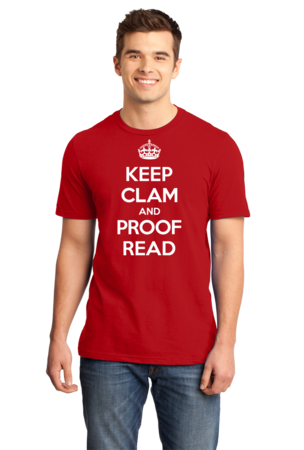 Keep Clam and Proof Read Standard Red Stock Model Front 1 Front
