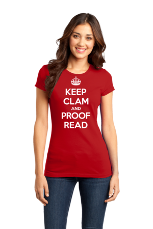 Keep Clam and Proof Read Girly Red Stock Model Front 1 Front
