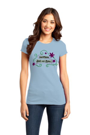 """Jim and the Povolos """"Loved and Alive"""" T-shirt Girly Light blue Stock Model Front 1 Front"""