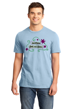 """Jim and the Povolos """"Loved and Alive"""" T-shirt Standard Light blue Stock Model Front 1 Front"""