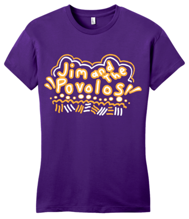 Jim and the Povolos Squiggly Name Tee Girly Purple Blank with Depth Front