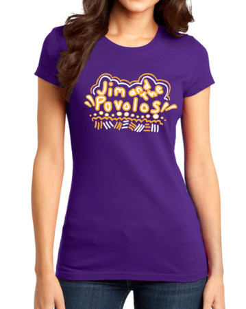 Jim and the Povolos Squiggly Name Tee Girly Purple Stock Model Front 1 Thumb Front