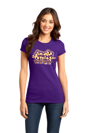 Jim and the Povolos Squiggly Name Tee Girly Purple Stock Model Front 1 Front