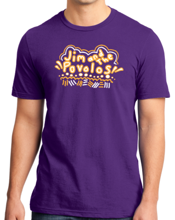 Jim and the Povolos Squiggly Name Tee Standard Purple Stock Model Front 1 Thumb Front