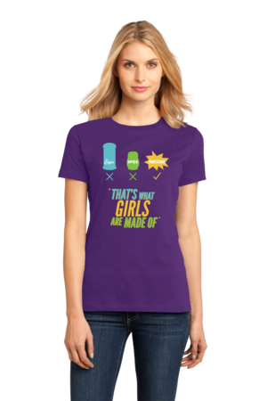 Sugar, Spice and Everything Nice! Girly T-Shirt Ladies Purple Stock Model Front 1 Front