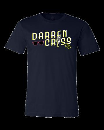 Darren Criss Microphone T-shirt Standard Navy Blank with Depth Front