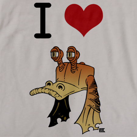 StarKid Ani I heart Jar Jar T-shirt Light Grey art preview