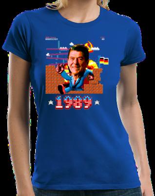 Epic Ronald Reagan Punching Through Berlin Wall Tee T-shirt