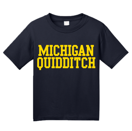 Michigan Quidditch Wordmark Youth Navy Blank with Depth
