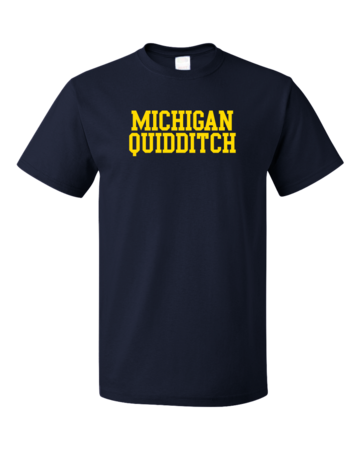 Michigan Quidditch Wordmark Unisex Navy Blank with Depth