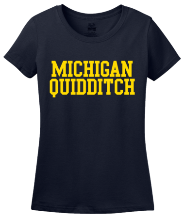 Michigan Quidditch Wordmark Ladies Navy Blank with Depth