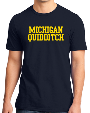 Michigan Quidditch Wordmark Unisex Navy Stock Model Front 3 Thumb
