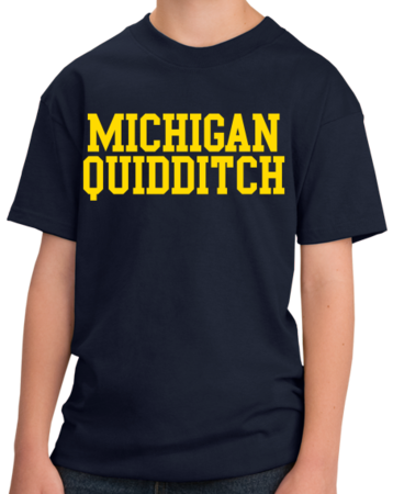 Michigan Quidditch Wordmark Youth Navy Stock Model Front 3 Thumb