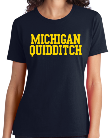 Michigan Quidditch Wordmark Ladies Navy Stock Model Front 3 Thumb