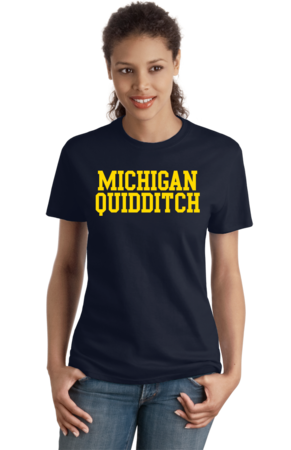 Michigan Quidditch Wordmark Ladies Navy Stock Model Front 4