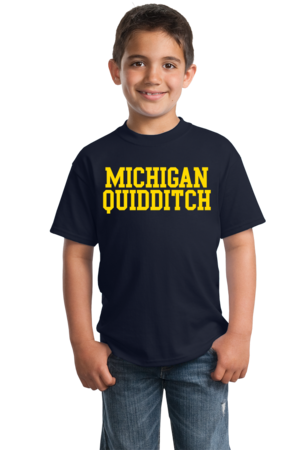 Michigan Quidditch Wordmark Youth Navy Stock Model Front 4