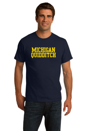 Michigan Quidditch Wordmark Unisex Navy Stock Model Front 4