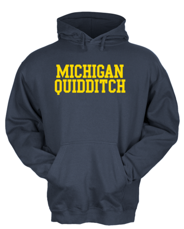 Michigan Quidditch Wordmark Hooded Pullover Hoodie Navy Blank with Depth