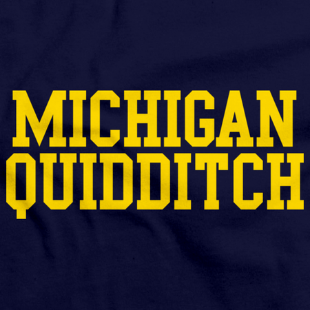 Michigan Quidditch Wordmark Crewneck Navy Art Preview