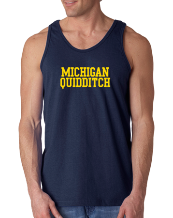 Michigan Quidditch Wordmark Tank Tank Top Navy Stock Model Front 1 Thumb