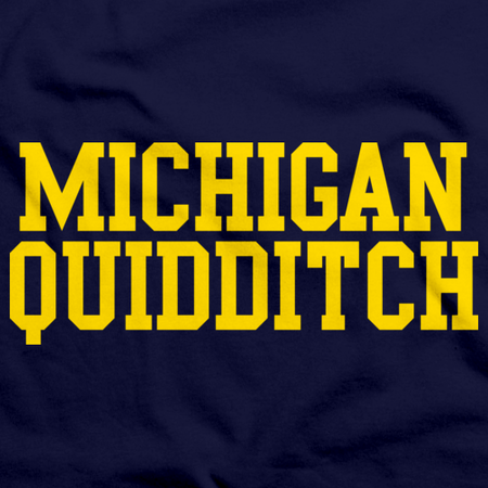 Michigan Quidditch Wordmark Tank Navy Art Preview