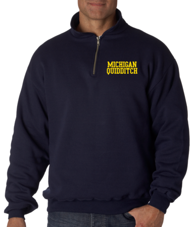Michigan Quidditch Quarter Zip Quarter Zip Navy Stock Model Front 1 Thumb