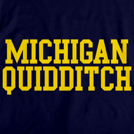 Michigan Quidditch Quarter Zip Navy Art Preview