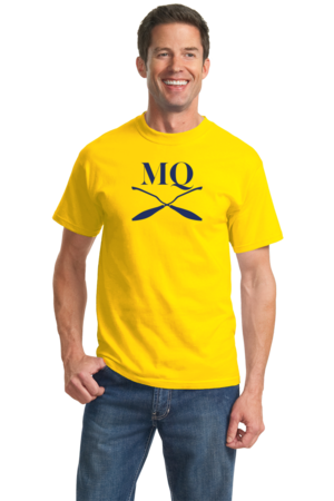 Michigan Quidditch Brooms Logo Tee Unisex Yellow Stock Model Front 2