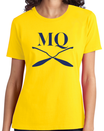 Michigan Quidditch Brooms Logo Tee Ladies Yellow Stock Model Front 3 Thumb