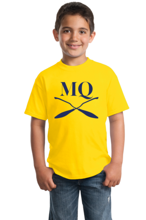 Michigan Quidditch Brooms Logo Tee Youth Yellow Stock Model Front 2