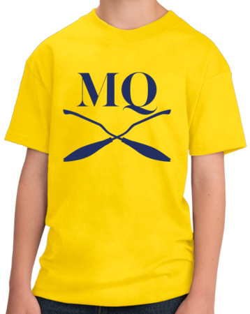 Michigan Quidditch Brooms Logo Tee Youth Yellow Stock Model Front 3 Thumb
