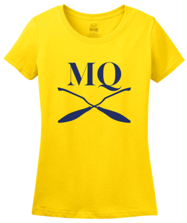 Michigan Quidditch Brooms Logo Tee Ladies Yellow Blank with Depth