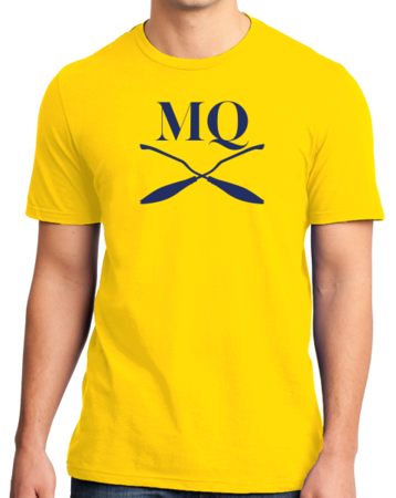 Michigan Quidditch Brooms Logo Tee Unisex Yellow Stock Model Front 3 Thumb