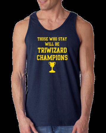 Michigan Quidditch Triwizard Tank Top Tank Top Navy Stock Model Front 1 Thumb