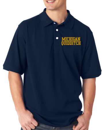 Michigan Quidditch Polo Adult Unisex Polo Navy Stock Model Front 1 Thumb