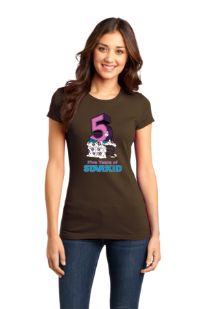 StarKid 5-Year Anniversary Cupcake T-shirt Girly Brown Stock Model Front 1