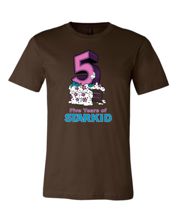 StarKid 5-Year Anniversary Cupcake T-shirt Standard Brown Blank with Depth