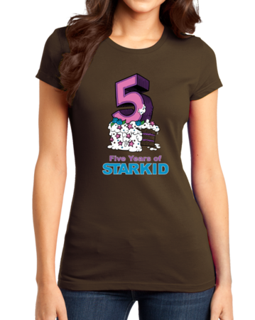 StarKid 5-Year Anniversary Cupcake T-shirt Girly Brown Stock Model Front 1 Thumb