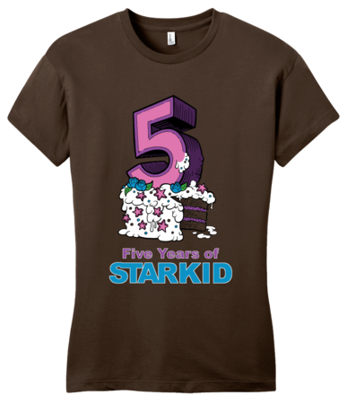StarKid 5-Year Anniversary Cupcake T-shirt Girly Brown Blank with Depth